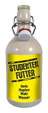 Studenten Futter 0,5 Liter Tonflasche Bier mit Bügelverschluss Geschenk
