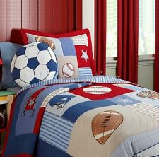 Reversible Quilted Cotton Patchwork Coverlet Bedspread 2pc Set Single MPK002