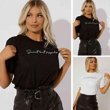 Womens Sweet But Psycho & Love ya self Slogan Short Sleeve Top Ladies T-Shirt