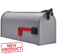 Post Mount Mailbox Medium Steel Heavy Duty Curbside Storage Postal Box Gray NEW
