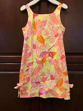 Lilly Pulitzer Girls Yellow Pink Orange Parrot Classic Mini Shift Dress 10
