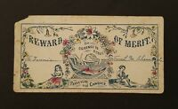 Victorian Reward of Merit Card ~ Girl and Boy Reading Book