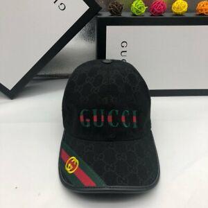 &* NEW GUCCI HAT Black,MEN'S/WOMEN,CANVAS BASEBALL CAP,ADJUSTABLE *