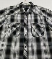 Surplus Men's Short Sleeve Button Up Shirt XL Black White Plaid Pockets Cotton