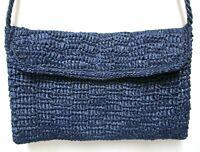 Vintage Genie Raffia Shoulder Bag Clutch Purse Convertible blue Spring Summer