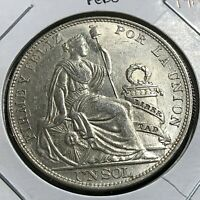 1914 PERU SILVER ONE SOL BRILLIANT UNCIRCULATED CROWN COIN