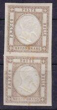 1861 PROVINCE NAPOLETANE COPPIA DEL 1/2 GRANA BISTRO BRUNO CON GOMMA  MNH **