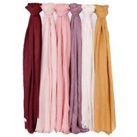 Women Solid Linen Scarf Soft Cotton Muslim Hijab Scarves Wraps Plain Headscarf