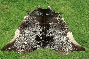Cowhide Rugs Tricolor Real Cow Hide Hair on Skin Leather Area Rug 6 x 6 ft Large