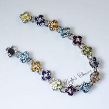 "Barbara Bixby 7.30 cttw Gemstone Flower Sterling Silver 18K Gold Bracelet 6-3/4"""