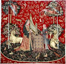 """CLUNY LADY & THE UNICORN THEME, LADY & THE ORGAN 22"""" TAPESTRY CUSHION COVER"""