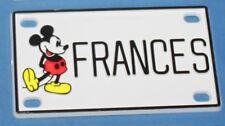 Vintage Walt Disney Prod. Mickey Mouse Frances Plastic Name License Plate