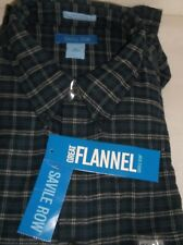 "Brand New With Tags MEN'S ""SAVILE ROW"" BLUE PLAID FLANNEL SHIRT: SIZE XL"