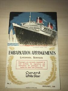AB64 - Cunard White Star Line Embarkation Arrangements Flyer 1949