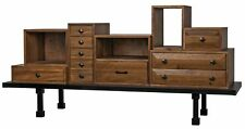 "82"" Sideboard Solid Walnut Brown Black Metal Frame Multiple Drawers/Shelves"