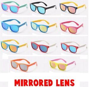 Rubber Flexible Kids Mirrored Polarised Sunglasses Age 3-10