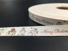 """5-100y Christmas gift Cotton Ribbon 5/8"""" Handmade Gift Present Package DIY craft"""