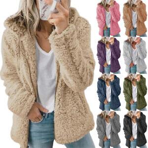 Womens Teddy Bear Fluffy Coat Zip Up Winter Cardigan Fleece Hoody Jacket Outwear
