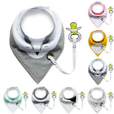 Cute Baby Infant Toddler Cotton Triangle Bibs Saliva Towel With Pacifier Clip