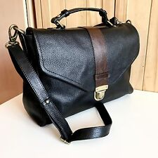 M&S Premium Range Real Leather Satchel Black Shoulder Bag - RRP £145