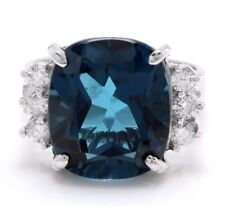9.65 Carat Natural London Blue Topaz and Diamonds 14K White Gold Ring