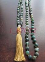 Mala Beads with Moss Agate Snow Quartz 108 Tassel Necklace Prayer Yoga Japa
