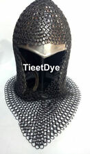 Chain mail Coif v-neck Chainmail Armour Chain-mail hood Black Ant