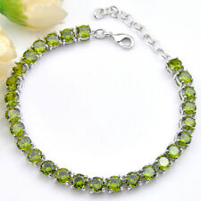European Style Round Natural Shiny Olive Peridot Gem Solid Silver Charm Bracelet