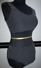 Damen Mädchen Badeanzug Bikini Set Bustier stretch schwarz weiß Punkte Gr.36 NEU