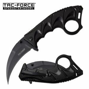 Spring-Assist Folding Karambit Knife | Tac-Force Black Hawkbill Blade Tactical