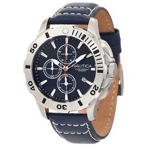 Nautica N18642G Bfd 101 Bleu Cadran Bleu Bracelet Cuir Chronographe Homme Montre