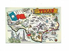 GREETINGS FROM TEXAS MAP POSTCARD LUSTERCHROME  BY TICHNOR BROS 1950s