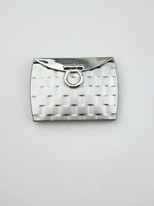 Brand new compact portable cosmetic folding mirror silver