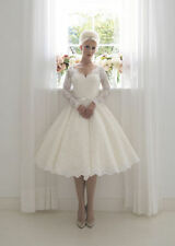 Short Vintage 1960's Lace Wedding Dress Bridal Gown Tea Length Custom all size