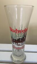 Budweiser CLYDESDALE Horse Beer Pilsner Glass Christmas Winter Free SHIP! EUC!