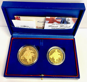 2004 Gold Proof £5 Entente Five Pound Crown & 20€ Gold proof Coin In Set Box