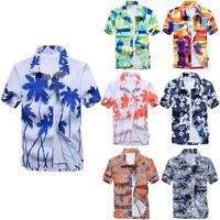 Mens Floral Print Shirts Tops Casual Short Sleeve Blouse Hawaiian Beach T-Shirt