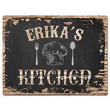 Pp2129 Erika'S Kitchen Plate Chic Sign Home Kitchen Decor Birthday Gift