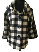 For Cynthia Womens Black White Houndstooth Buffalo Plaid Jacket S EUC Wool Blend