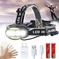 IR Sensor 7 Modes Rechargeable T6+COB LED Headlamp Head Torch Light Flashlight