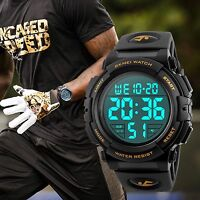 Men Large Dial LED Alarm Sport Waterproof Chronograph Rubber Wrist Digital Watch