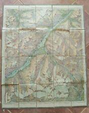 MAP OF SKI TOURS OF SWITZERLAND - Circa 1920 / Linen Backed
