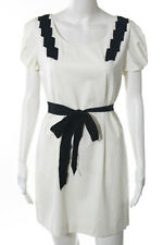 3.1 Phillip Lim White Short Sleeve Pleated A Line Dress Size 8