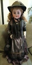 "Antique Simon & Halbig Germany large 30"" doll leather jointed open mouth teeth"