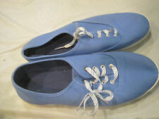 Blue Canvas Sneakers~Shoe Size 9 US~Stripped Laces~LBDMA