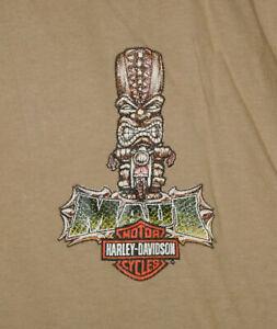 HARLEY DAVIDSON Motorcycle T-Shirt MAUI HAWAII Vtg Aloha TIKI Biker TAN Mens XL