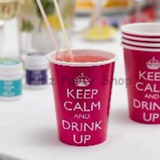 KEEP CALM + DRINK UP - 8 Paper Cups 8oz - Birthday Party - Free Postage in UK