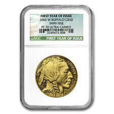 2006-W 1 oz Proof Gold Buffalo Coin - Inaugural Issue - PF-70 NGC - SKU #18608