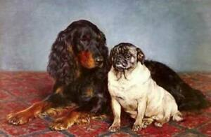 CHOP1337 100% handmade painted two animals dogs oil painting art on canvas