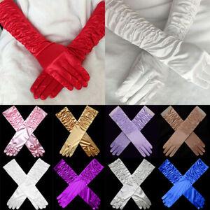 38CM Women Cosplay Christmas Party Long Satin Gloves Full Fingers Wedding Bridal